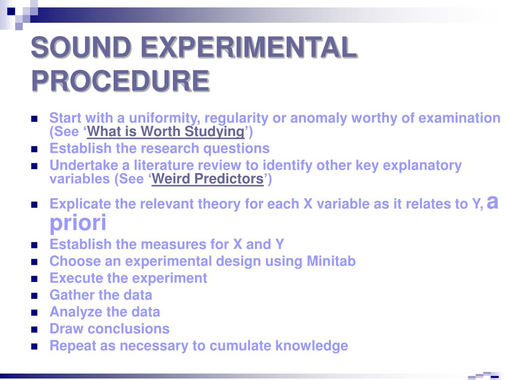SOUND EXPERIMENTAL PROCEDURE