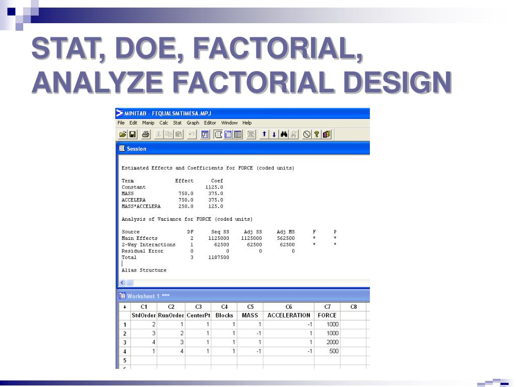 STAT, DOE, FACTORIAL, ANALYZE FACTORIAL DESIGN