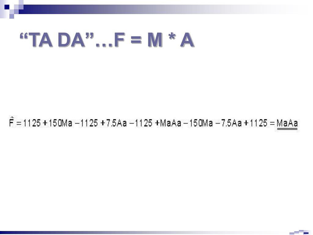 """""""TA DA""""…F = M * A"""