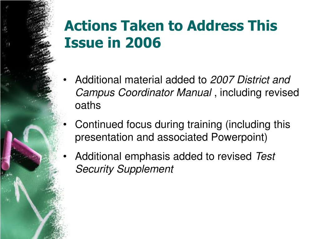 Actions Taken to Address This Issue in 2006