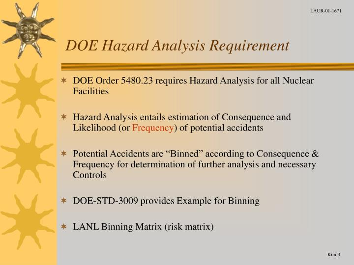 Doe hazard analysis requirement