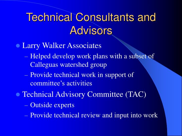 Technical Consultants and Advisors