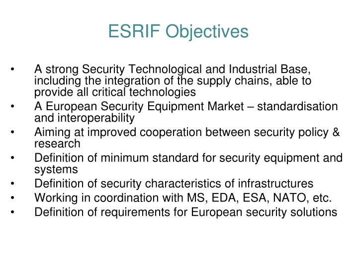 ESRIF Objectives