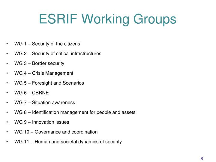ESRIF Working Groups