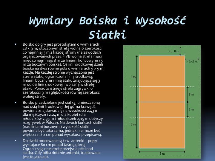 Wymiary Boiska i Wysokość Siatki