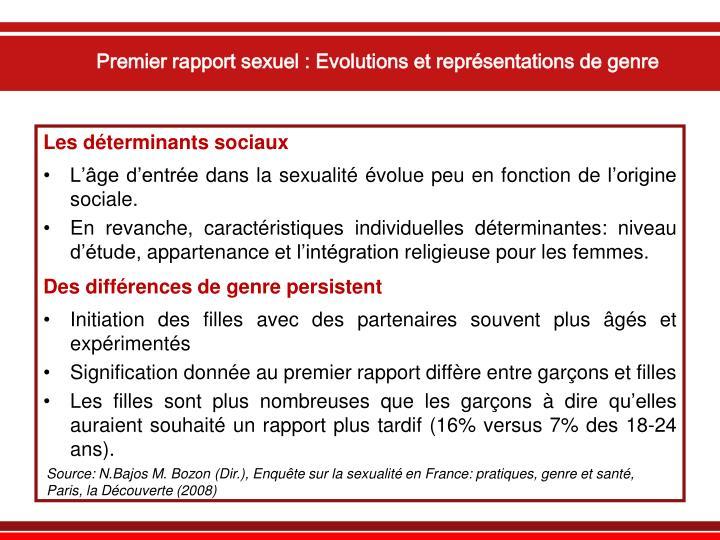 Premier rapport sexuel : Evolutions et représentations de genre