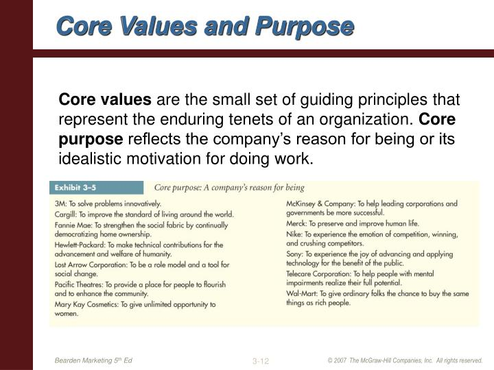 Core Values and Purpose