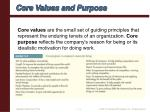 core values and purpose