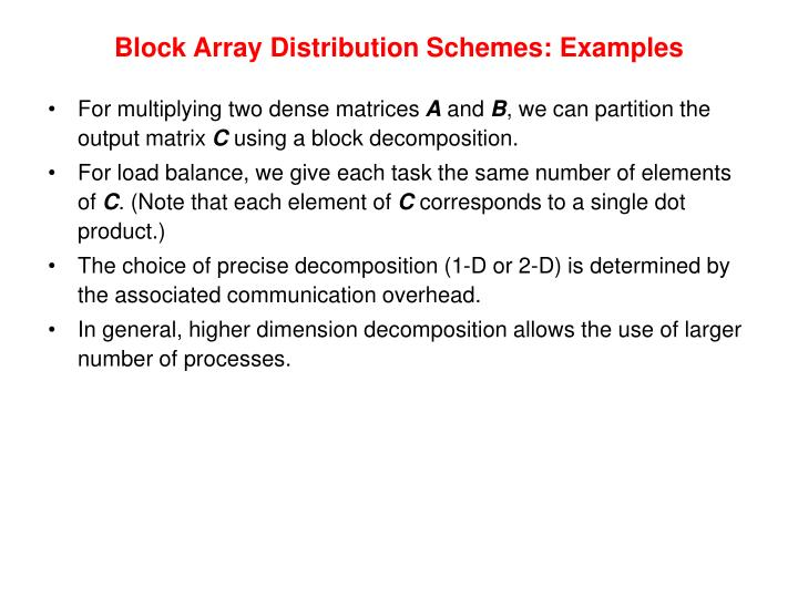 Block Array Distribution Schemes: Examples