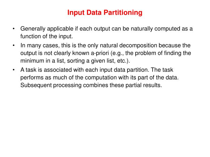 Input Data Partitioning