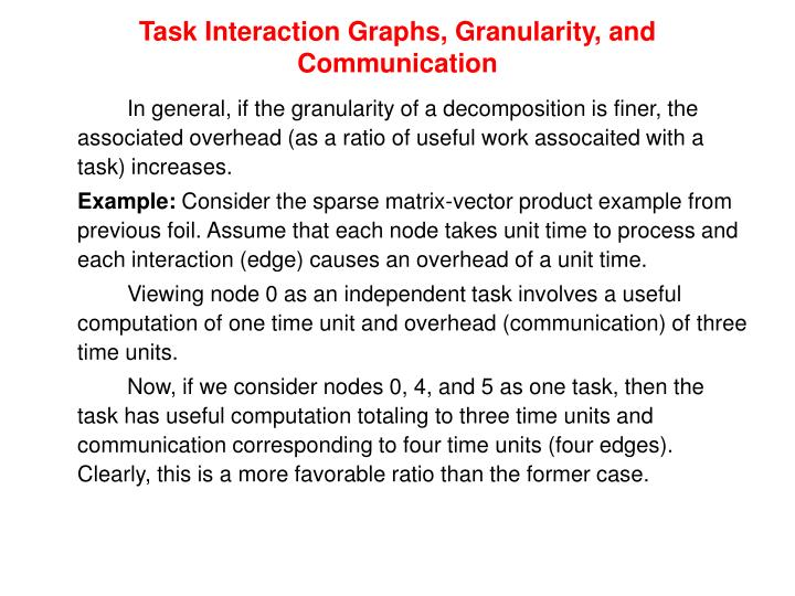 Task Interaction Graphs, Granularity, and Communication
