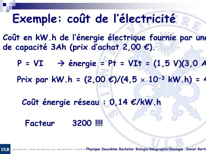 Exemple: coût de l'électricité
