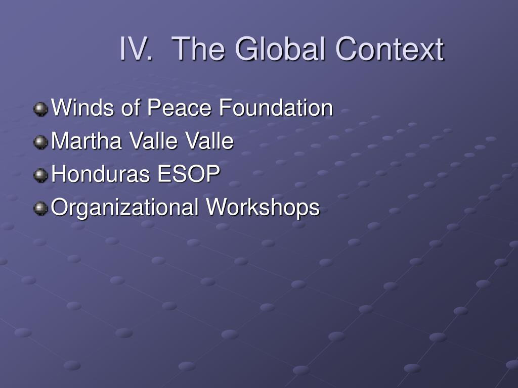 IV.  The Global Context