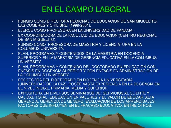 EN EL CAMPO LABORAL