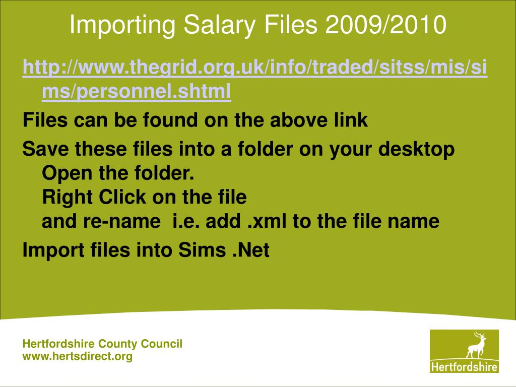 Importing Salary Files 2009/2010