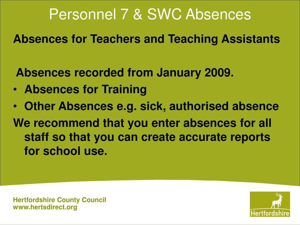 Personnel 7 & SWC Absences