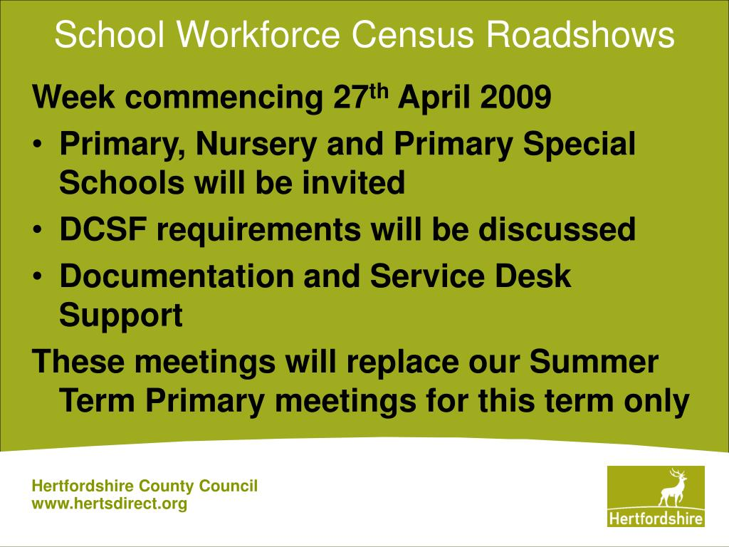 School Workforce Census Roadshows