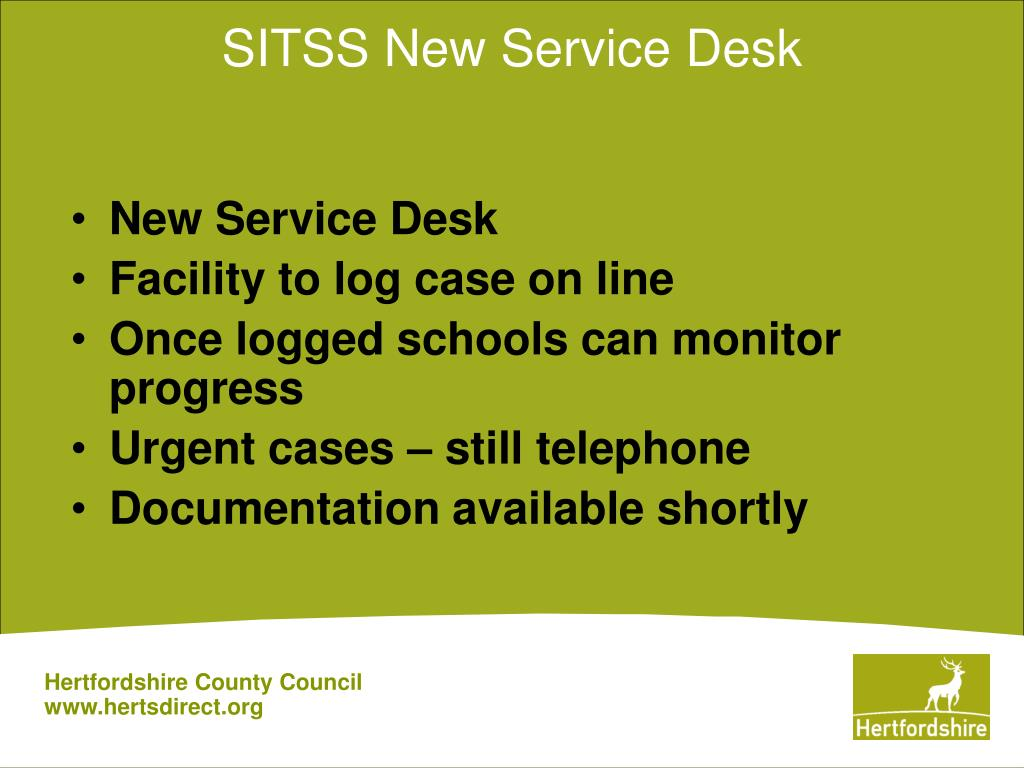 SITSS New Service Desk