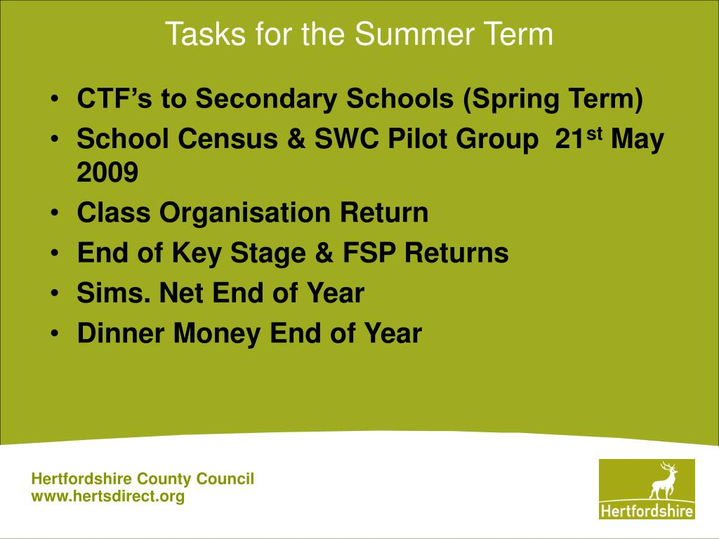 Tasks for the Summer Term