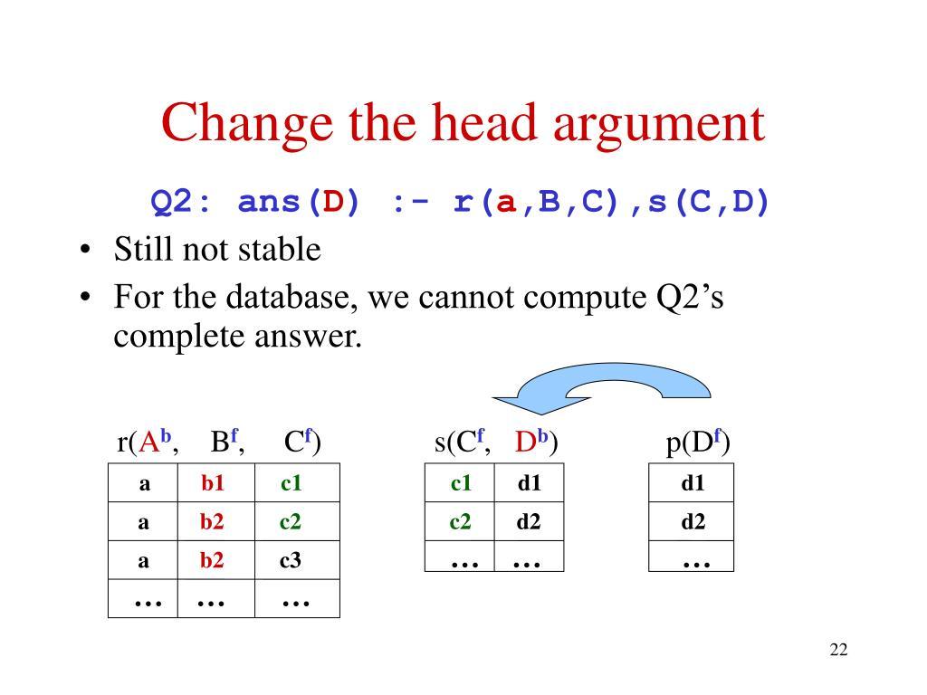 Change the head argument