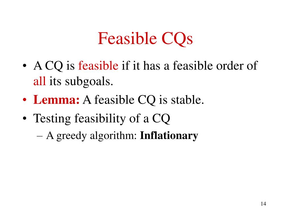 Feasible CQs