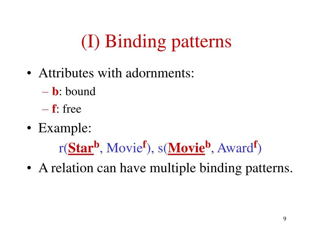 (I) Binding patterns