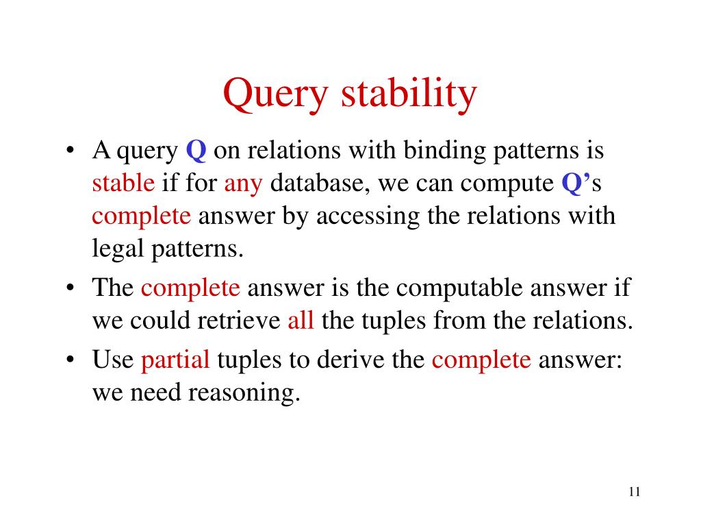 Query stability