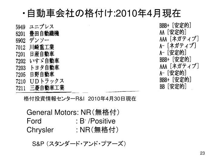 ・自動車会社の格付け