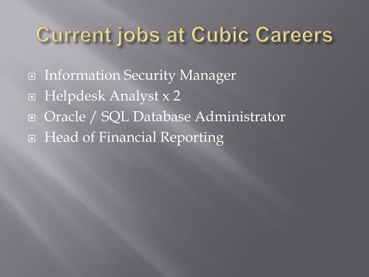Current jobs at Cubic Careers