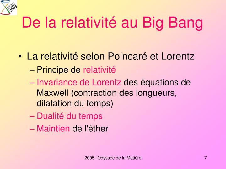 De la relativité au Big Bang