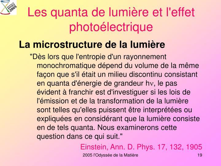 Les quanta de lumière et l'effet photoélectrique