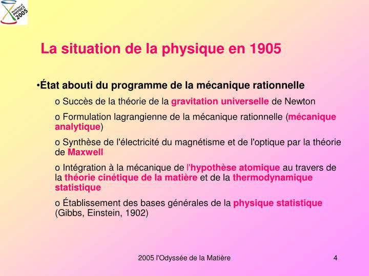 La situation de la physique en 1905