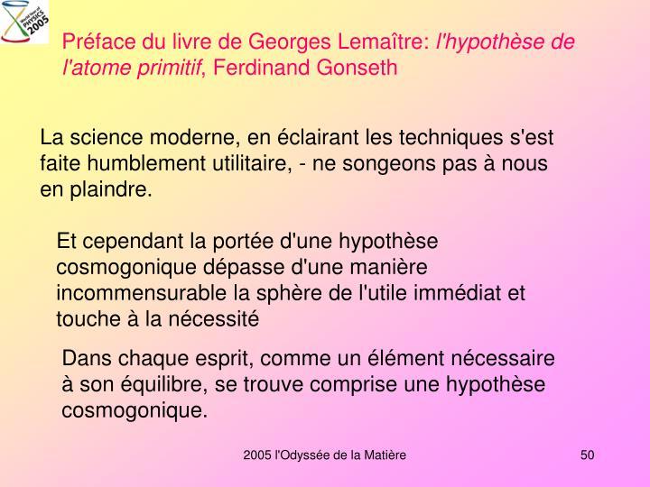 Préface du livre de Georges Lemaître: