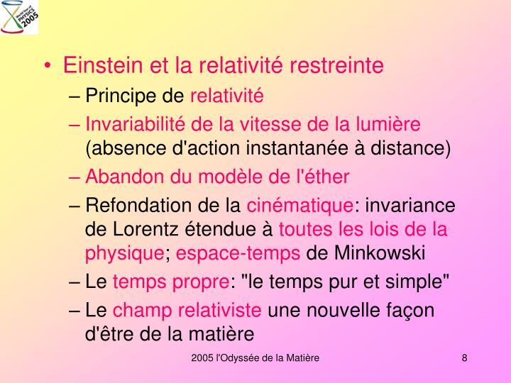 Einstein et la relativité restreinte