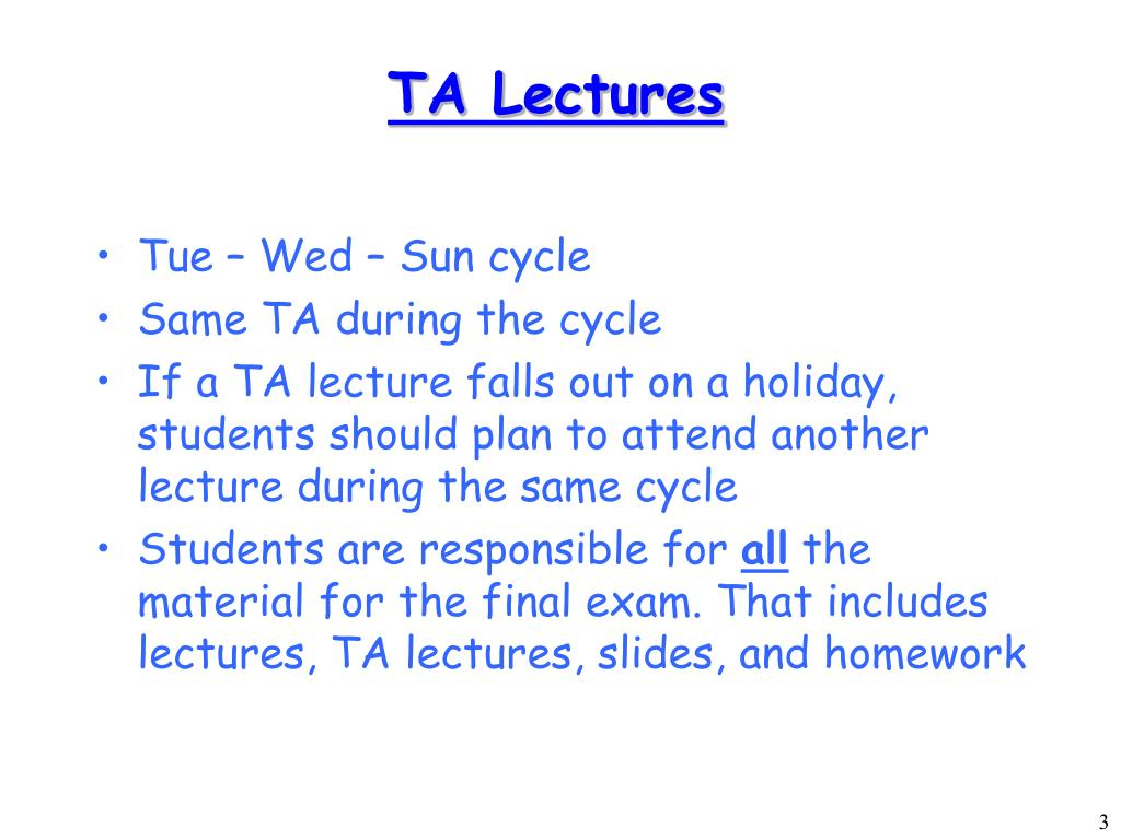 TA Lectures