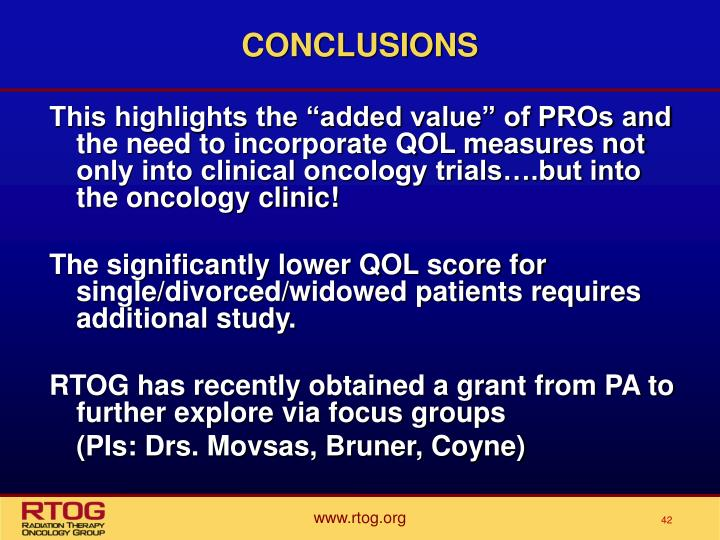 "This highlights the ""added value"" of PROs and the need to incorporate QOL measures not only into clinical oncology trials….but into the oncology clinic!"