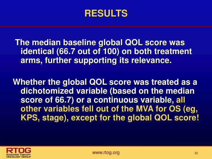 The median baseline global QOL score was identical (66.7 out of 100) on both treatment arms, further supporting its relevance.