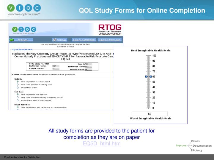 QOL Study Forms for Online Completion