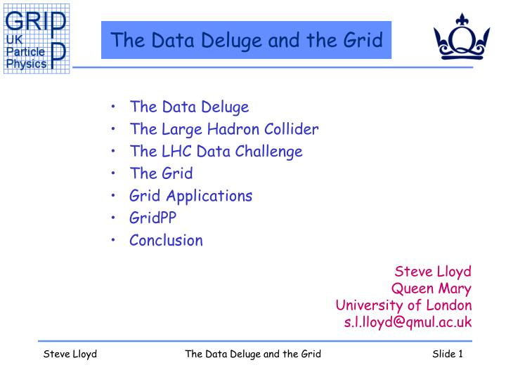 The data deluge and the grid