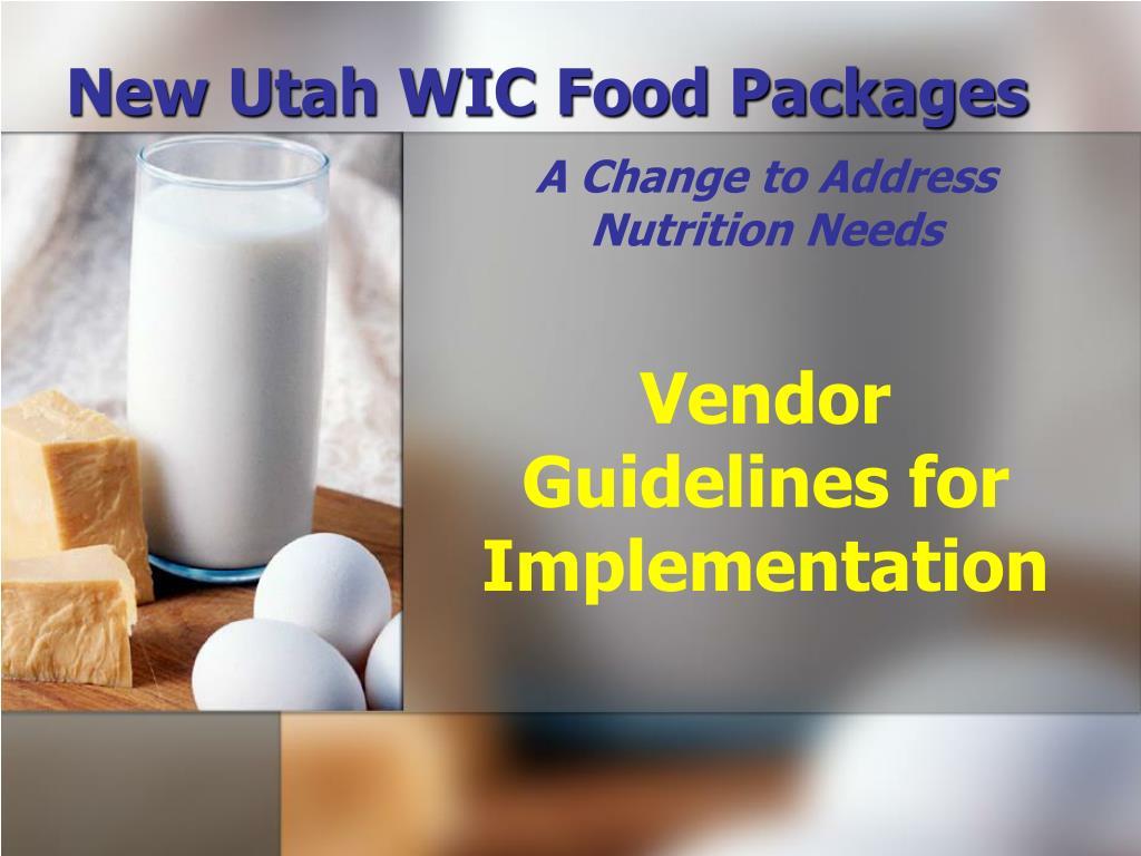 new utah wic food packages