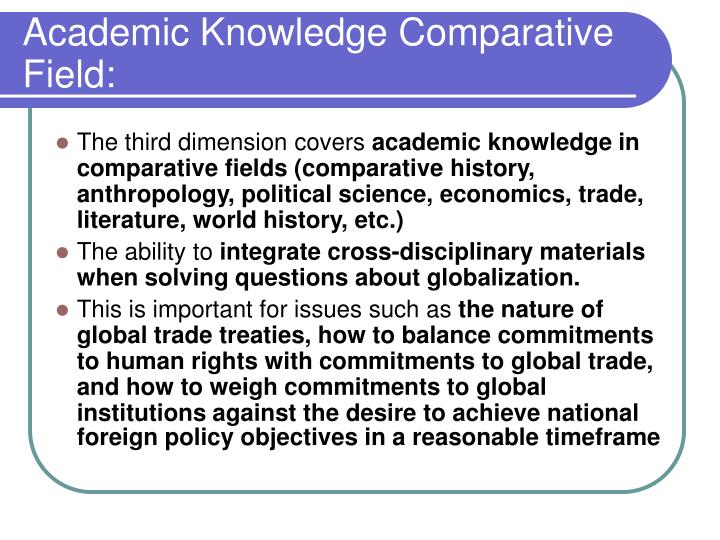 Academic Knowledge Comparative Field:
