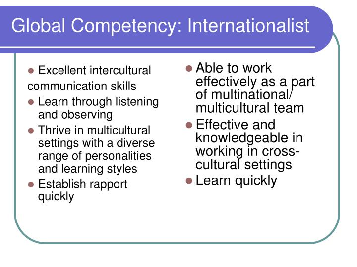 Global Competency: Internationalist