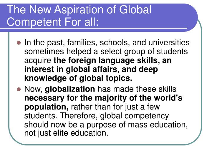 The New Aspiration of Global Competent For all: