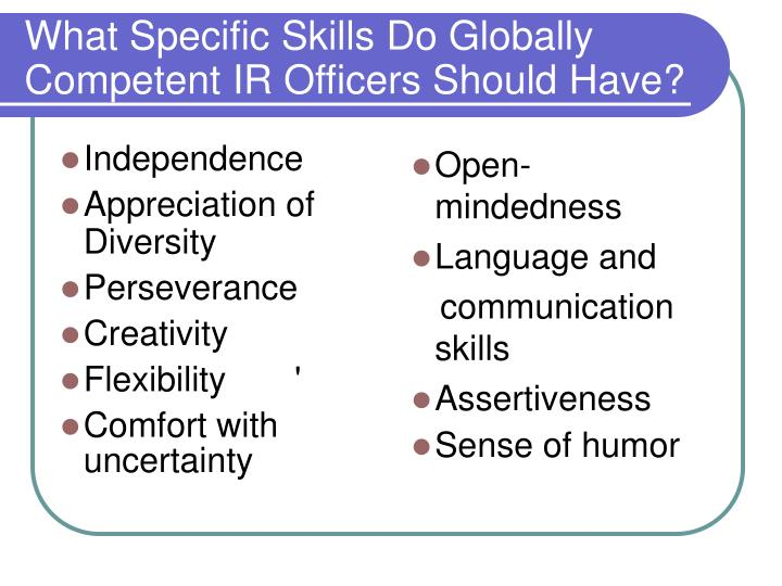 What Specific Skills Do Globally Competent IR Officers Should Have?