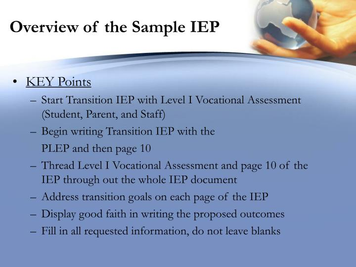 Overview of the Sample IEP