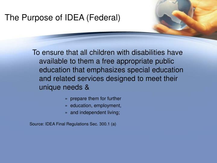 The Purpose of IDEA (Federal)