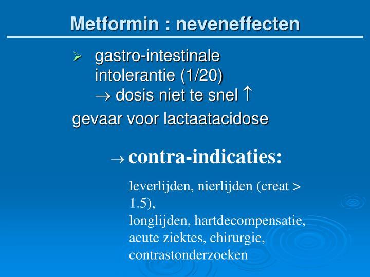 Metformin : neveneffecten