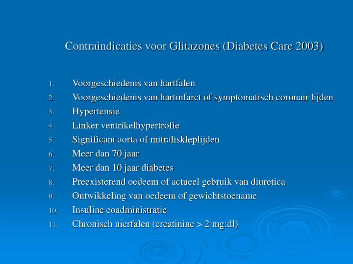 Contraindicaties voor Glitazones (Diabetes Care 2003)