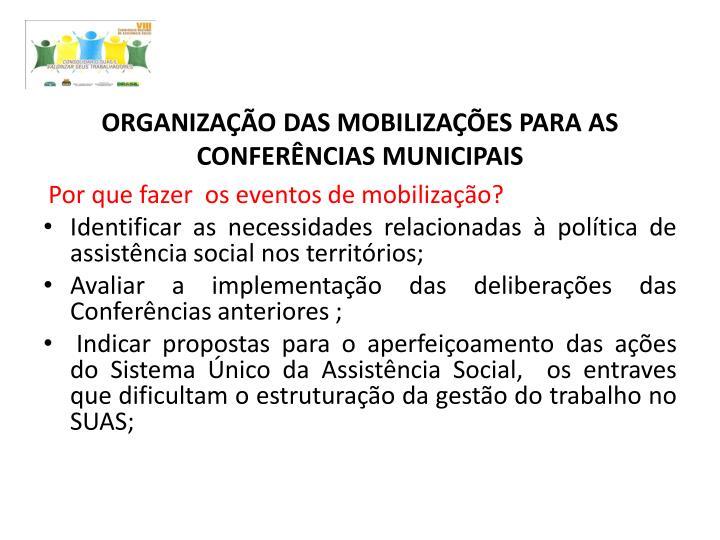 ORGANIZAÇÃO DAS MOBILIZAÇÕES PARA AS CONFERÊNCIAS MUNICIPAIS