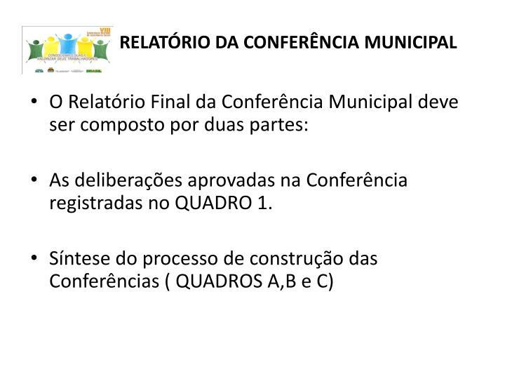 RELATÓRIO DA CONFERÊNCIA MUNICIPAL